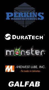 Perkins,Duratech,Monster Power,Midwest Lube,Galfab Product Logos